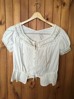 Vintage Handmade White Cotton & Lace Camisole with Short Sleeves