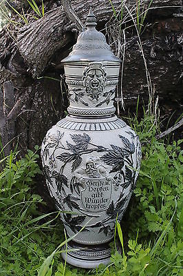 Antique German Pitcher Bearded Gnomes Acorn Pewter Lid Germanic Language On Sign