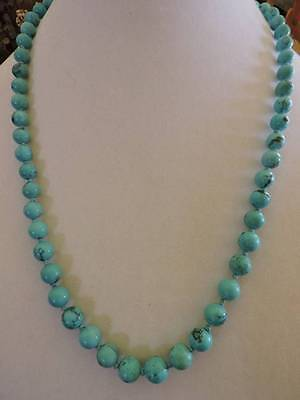 Vintage Chinese  Natural Turquoise Bead Strand Necklace With Silver Clasp