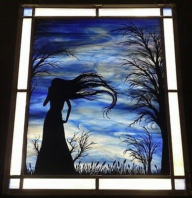 "Gothic Silouette stained glass 14 1/4"" x 12 1/2"""