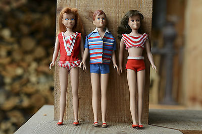 Barbie Dolls: Skipper, Ricky and Scooter, all 1963 vintage