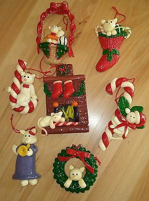 Set Of 7 White Cat Christmas Ornaments For Tree