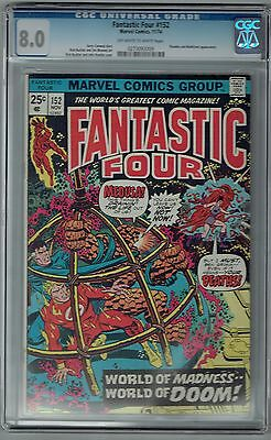 Fantastic Four #152 CGC 8.0 VF Ow-Wp Marvel Comics 1974 FF Thing Human Torch +