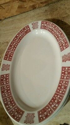 2 VINTAGE BUFFALO CHINA 12.5 inch  PLATTER RESTAURANT WARE RED ASIA LOTUS FLOWER