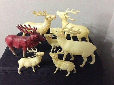 7 vintage plastic reindeer - 2 With Red Rhinestone Eyes - RARE  COLLECTABLE