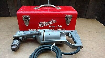 "Vintage Milwaukee 1100-1 Heavy Duty 1/2"" Corded Right Angle Drill with Case"