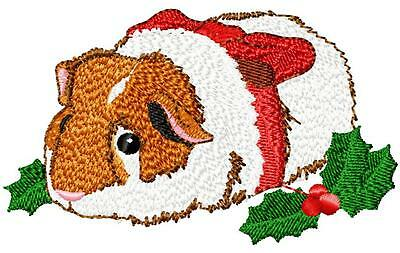 Christmas Guinea Pig (brown and white)  Embroidery Patch