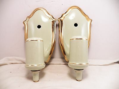 2 Vintage Porcelain Wall Light Fixtures Sconce Pair Art Deco Bathroom w/Outlet