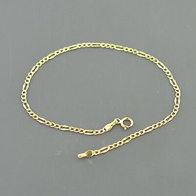 10K Yellow Gold 2.1Mm Wide Fancy Figaro Link 7.5 Inch Bracelet Free Shipping