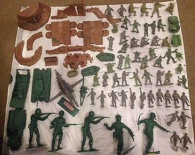 """Lot of 75+ Marx 1963 1971 WWII Army 6"""" & 2"""" Soldiers Tanks Bunker Guns Vehicles"""