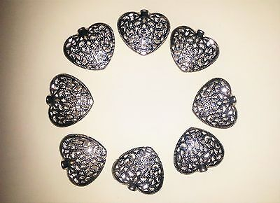 """X8 Small Silvered Filigree Metal Hearts for Crafting - 1.75"""" x 1.75"""""""