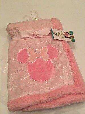 Disney Minnie Mouse Baby Girls Blanket Layette Pink Super Soft Sherpa 30x30