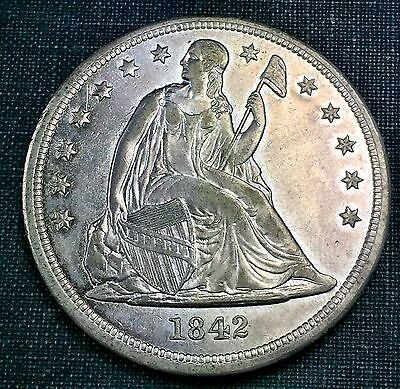 1842 Seated Liberty Dollar XF/AU Details