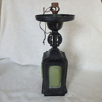 Antique Vtg Arts & Crafts Cast Iron Ceiling Light Fixture w/ Green Curved Glass