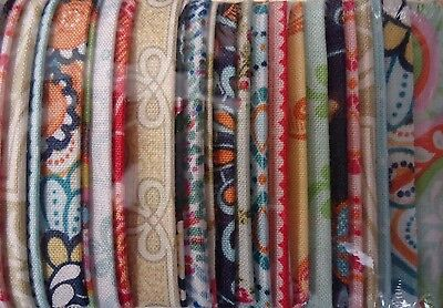 """Retro Paisley Floral Rainbows 'jelly Roll' 40 X 2.5"""" Strips Cotton Quilt Fabric"""