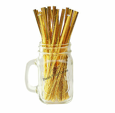 25 x Gold Foil Coated Paper Straws Drink Wedding Party Event Solid Drinking