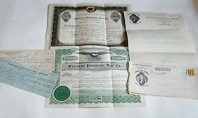 2 STOCKS of FAULTLESS PNEUMATIC TIRE CO.1923 25 & 19 SHARES W/ Papers