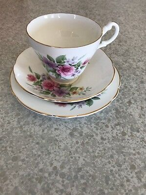 Royal Ascot bone china England cup saucer plate trio rose floral