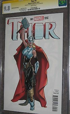 9.8 SIGNED STAN LEE THOR #1 Pichelli Variant SS Signature AVENGERS Female Woman