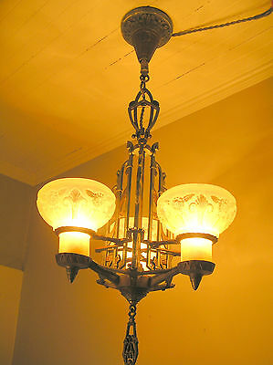 Rare Antique Art Deco Slip Shade Chandelier With 3 Torchiere Shades Amber Glass
