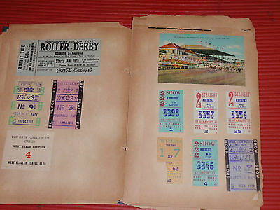 Vintage Scrap Book 1951 -52 Miami Hai-Alai Post Cards Ticket Stubs Kennel Club