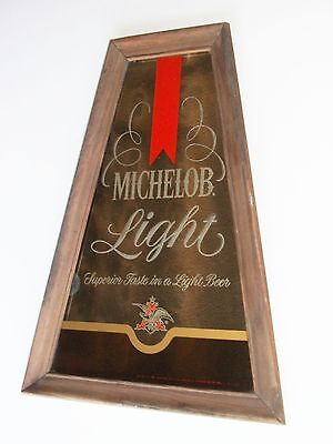 Old Michelob Light Trapezoidal Wood Frame Mirror Sign