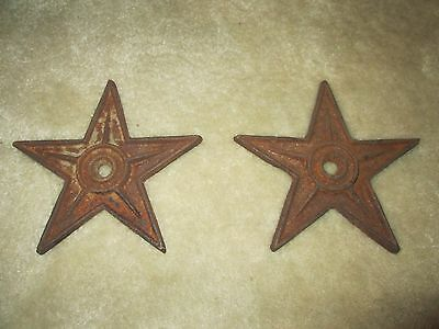 "Lot Of Two (2) Vintage Masonry Cast Iron 7"" Stars - 5 Point"