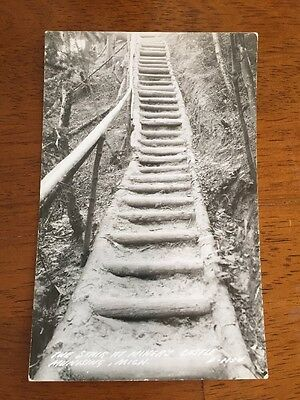 Munising Michigan The Stairs At Miner's Castle Rock Vintage Real Photo Postcard