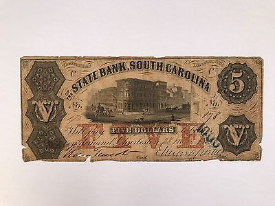 1855? 5 Dollar Obsolete Paper Note / Bill State Bank South Carolina. US Currency