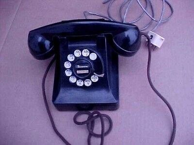 Vintage Bell System Western F-1 Electric Black Rotary Dial Phone w/ Red Numbers!
