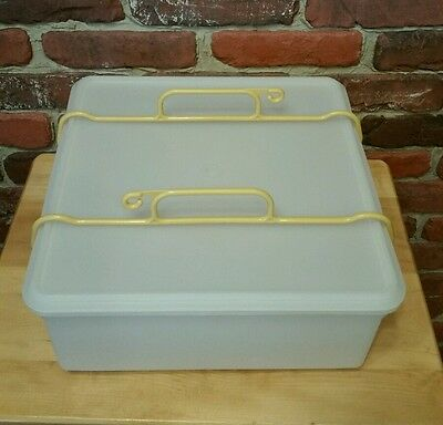 Vintage Clear Tupperware Large, Square Keeper with Harvest Gold Handle