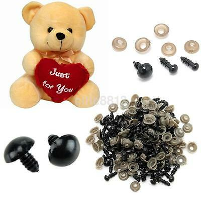 100X 6-18mm Black Plastic Safety Eyes For Teddy Bear Doll Toy Animal Felting AU