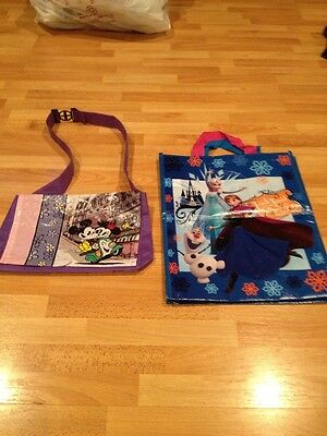 2 Disney Minie Mickey Mouse & Frozen Halloween Shopping Messenger Bag