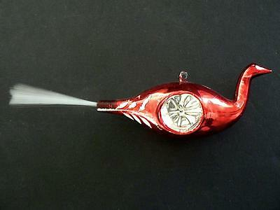 Vintage Red Bird Peacock Double Indent  Spun Glass Tail Christmas Ornament