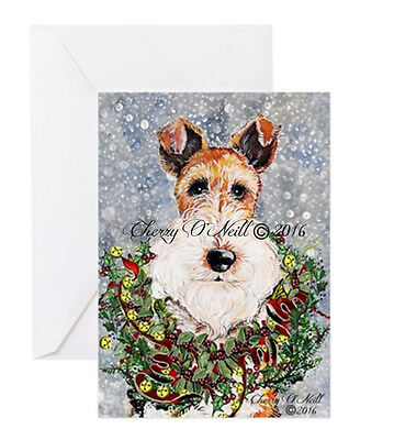 Merry Christmas Fox Terrier Greeting Card Set of 10 Identical Winter WFTs