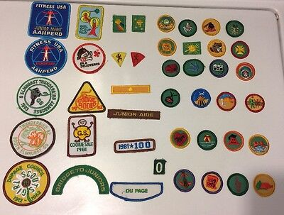 Huge Lot of 43 Vintage Girl Scout Badges Patches