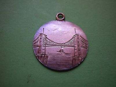 Dime Sized Silver Coin Engraved Brooklyn Bridge Fancy Initials/border Very Cool