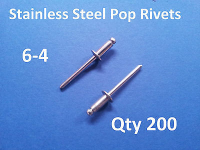 200 POP RIVETS STAINLESS STEEL BLIND DOME 6-4 4.8mm x 10.8mm 3/16""