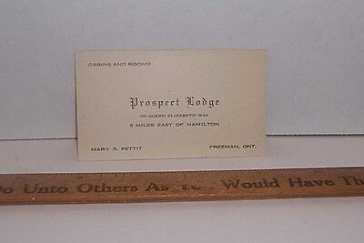 PROSPECT LODGE Cabins & Rooms, Freeman ONT, Mary S. Pettit Business Card