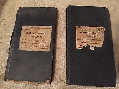1940s-50s Reading Company Foreman Time Book Pair - Vintage Railway Train
