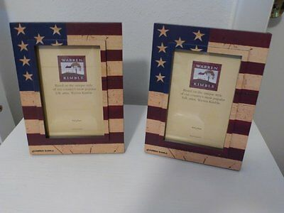 Lot Of 2 Warren Kimble American Flag 4 X 6 Inch Photo Picture Frames