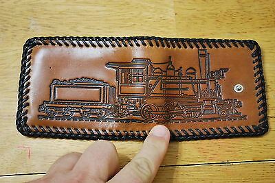Leather Men's Wallet -Train Engine  Vintage -NICE - Never Used