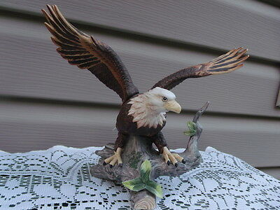 Large Vintage open Winged Porcelain Mountain Eagle Statue in Flight-Nice