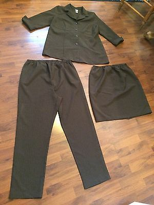 Women's Size Large Duo Maternity 3 Piece Pants Skirt Jacket Suit Pinstripe Brown