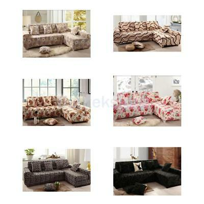 190-230cm 3 Seats Printing Fitted Stretch Corner L-Shaped Sofa Couch Cover Decor