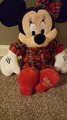 """Minnie Mouse Holiday Plush Christmas """"disney Store 2011"""" Embroidery On Foot"""