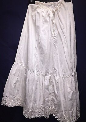 Vintage Petticoat Victorian Skirt Edwardian Slip White Fancy Lace Trim