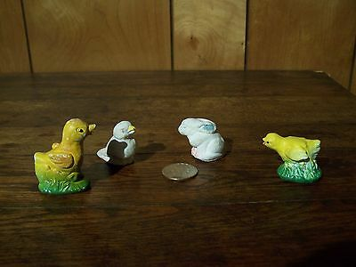 """4 Vintage Small Chalkware Spring Figurines Chicks, Duck, Bunny 2"""" or smaller"""