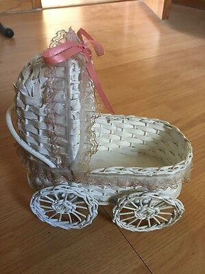 Antique Baby Doll White Wicker Carriage With Canopy and 4 Wheels