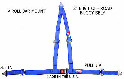 "Rjs Racing 2""buggy Off Road Seat Belt 3 Point B&t V Harness Blue Off Road Dirt"